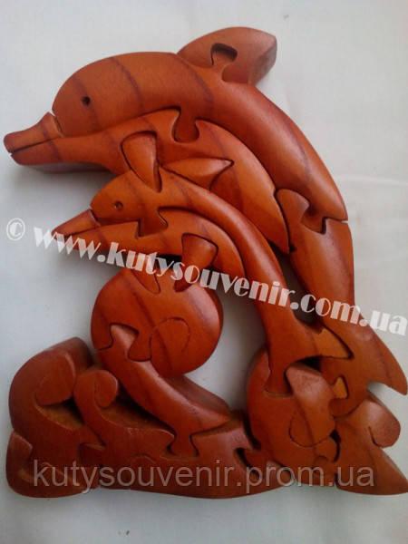 Деревянный пазл дельфин