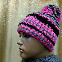 Izolda  TM Loman, молодежная зимняя шапка р-р 53-55, с отворотом и на флисеI, цвет розовый с серым, фото 1