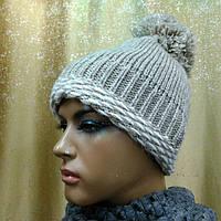 Prodigy II TM Loman, шапка женская молодежная плотной вязки с бубоном, цвет бежевый, фото 1
