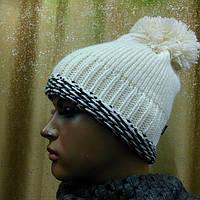 Prodigy II TM Loman, шапка женская молодежная плотной вязки с бубоном, цвет белый, фото 1