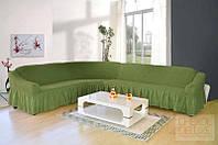 """Чехол на угловой диван """"Karven"""" Турция. Цвет в ассортименте зеленый"""