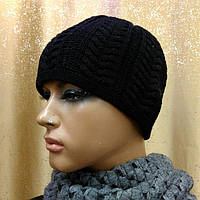 Стильная женская шапка Bona TM Loman, двойная и шерстяная, цвет черный, размер 56-58