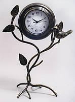 """Часы настольные """"Птица на ветке 2"""", металлические, золотая патина,30x20см."""