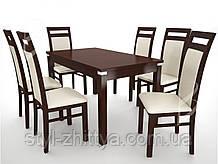 Дерев'яний набір меблів: Стіл і м'які крісла 6 шт.
