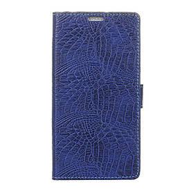 Чехол книжка для Huawei Honor 6A боковой с отсеком для визиток, Крокодиловая кожа, синий