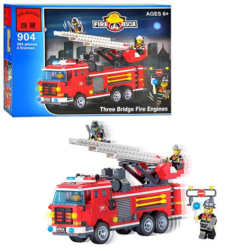 Конструктор BRICK 904  Пожарная  тревога, 364 дет, в кор-ке, 34,5-25,5