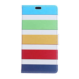 Чехол книжка для Huawei Honor 6A боковой с отсеком для визиток, Разноцветные полоски