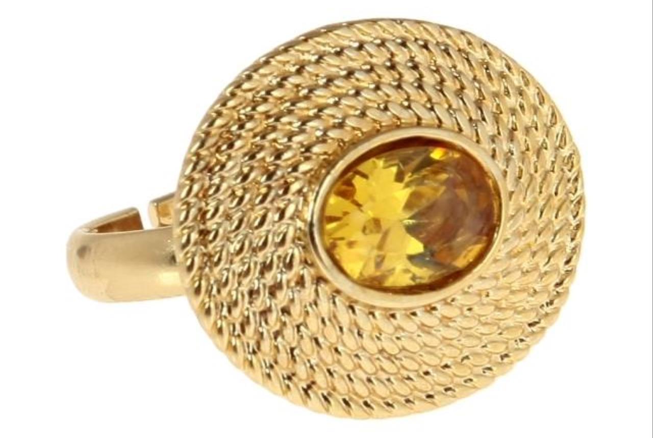 """Кольцо """"Алтея"""" с фианитом, покрытое золотом безразмерное (j172p0a2)"""