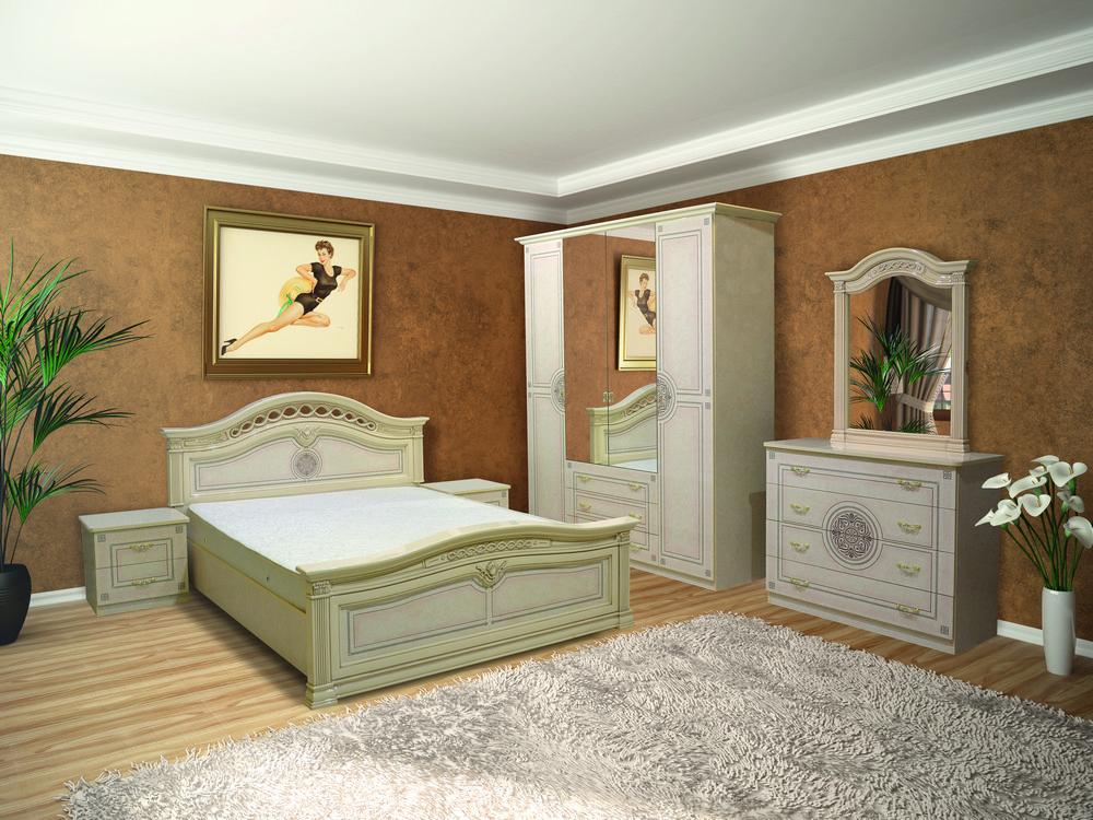 Спальня в класичному стилі з художньої печаткою Діана 4Д Світ меблів, колір піно беж