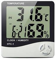 Электронный термометр-гигрометр HTC-1,часы-будильник
