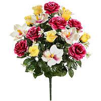 Букет искусственных цветов Роза c орхидеей композиция , 58 см
