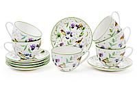 """Чайный фарфоровый набор """"Птички кантри"""", 6 чашек с блюдцами"""