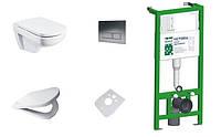 Комплект инсталляции для унитаза с унитазом (MERO), кнопкой, крышкой (микролифт). Польша.