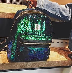 Рюкзак пайетки зелёный классический с карманом 207-313, фото 2