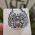Серебряное байкерское мужское женское унисекс кольцо перстень для байкера Сердце Харлея 18450 ст, фото 6
