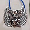 Серебряное байкерское мужское женское унисекс кольцо перстень для байкера Сердце Харлея 18450 ст, фото 4