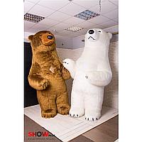 """Надувной костюм (Пневмокостюм, пневморобот ) """" Белый и Бурый Медведи Длинный мех """", фото 1"""