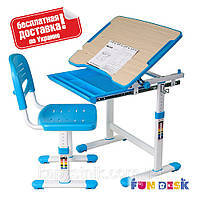 Детская парта-растишка со стульчиком для мальчика ТМ FunDesk Piccolino Blue