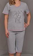 Пижама с бриджами женская домашний комплект трикотажный кулирный