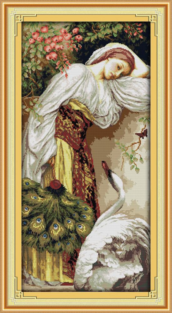 Девушка и лебедь R863 Набор для вышивки крестом с печатью на ткани 14ст