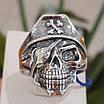 Серебряное байкерское мужское женское унисекс кольцо перстень для байкера череп Пират Разбойник 18530 ст, фото 10
