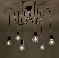 Люстра паук на 6 лампочек черная