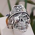 Серебряное байкерское мужское женское унисекс кольцо перстень для байкера череп Пират Разбойник 18530 ст, фото 9