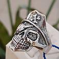 Серебряное байкерское мужское женское унисекс кольцо перстень для байкера череп Пират Разбойник 18530 ст, фото 8