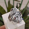 Серебряное байкерское мужское женское унисекс кольцо перстень для байкера череп Пират Разбойник 18530 ст, фото 7