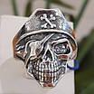 Серебряное байкерское мужское женское унисекс кольцо перстень для байкера череп Пират Разбойник 18530 ст, фото 6