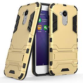 Чехол накладка для Huawei Honor 6A противоударный силиконовый с пластиком, Alien, золотистый