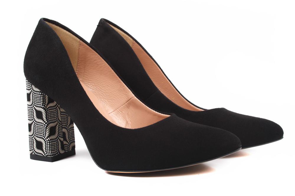 Туфли женские Luca Cavali натуральный замш, цвет черный (каблук, стильные, комфорт, Польша)