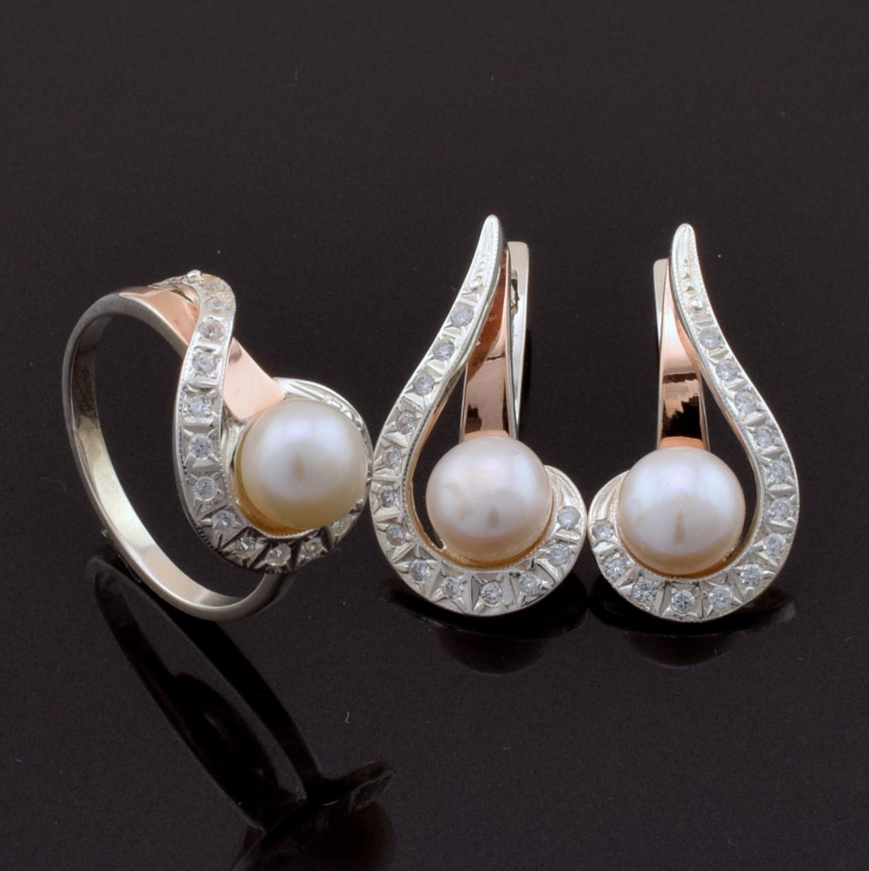 Серебряный набор с золотыми пластинами, кольцо размер 19 + серьги 26*14 мм