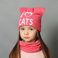 Комплект шапка и хомут весна для девочки с ушками Татин