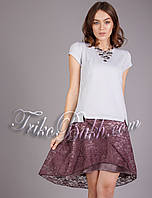 Женская летняя атласная юбка с гипюром , фото 1