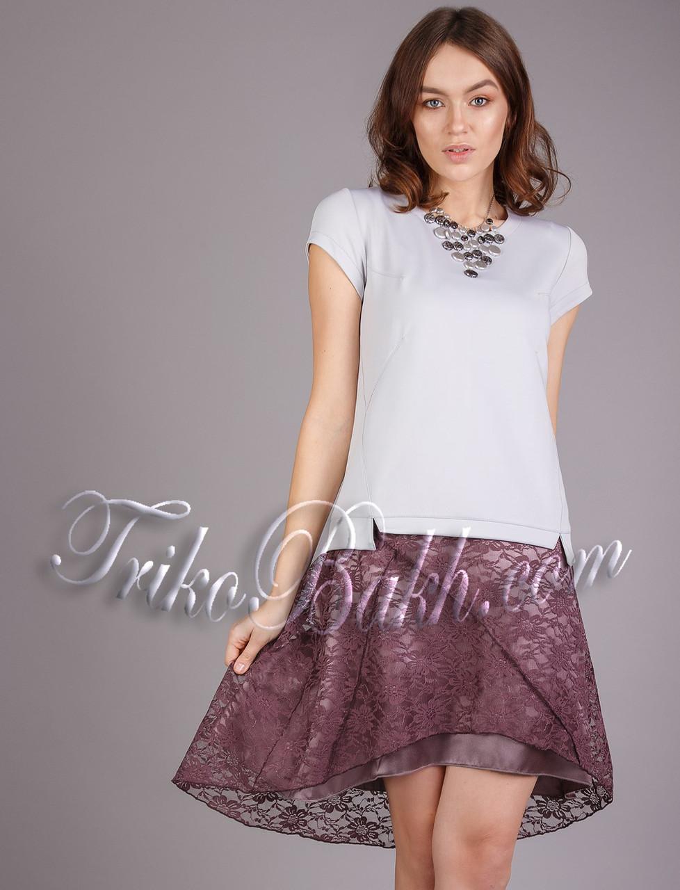 Женская летняя атласная юбка с гипюром