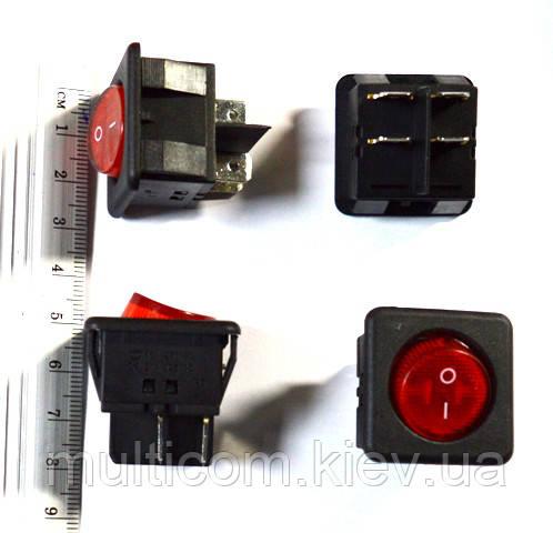 11-02-102. Переключатель квадрат с круглой клавишей (ON-OFF), 4pin, 20А-125V/16A-250V, с подсветкой