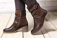 Женские кожаные ботинки TIFFANY на среднем каблуке с ремешком, фото 1