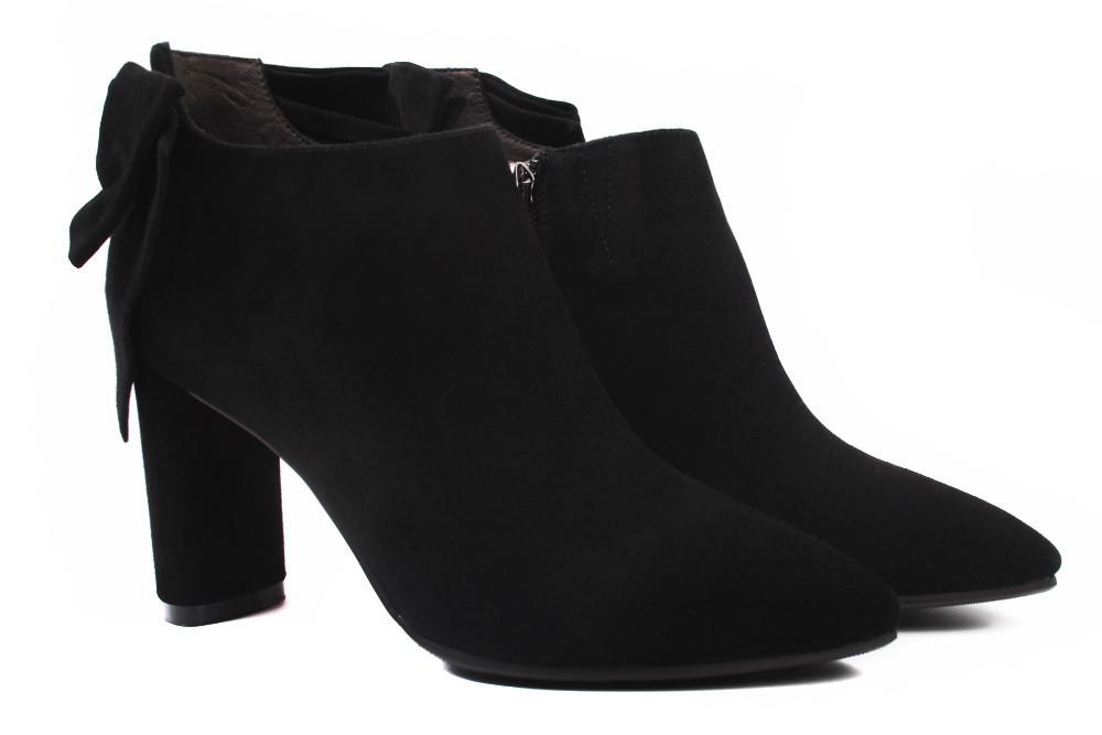 0952190b01d2 Ботинки женские Angelo Vani натуральный замш, цвет черный (ботильоны,  каблук, ...