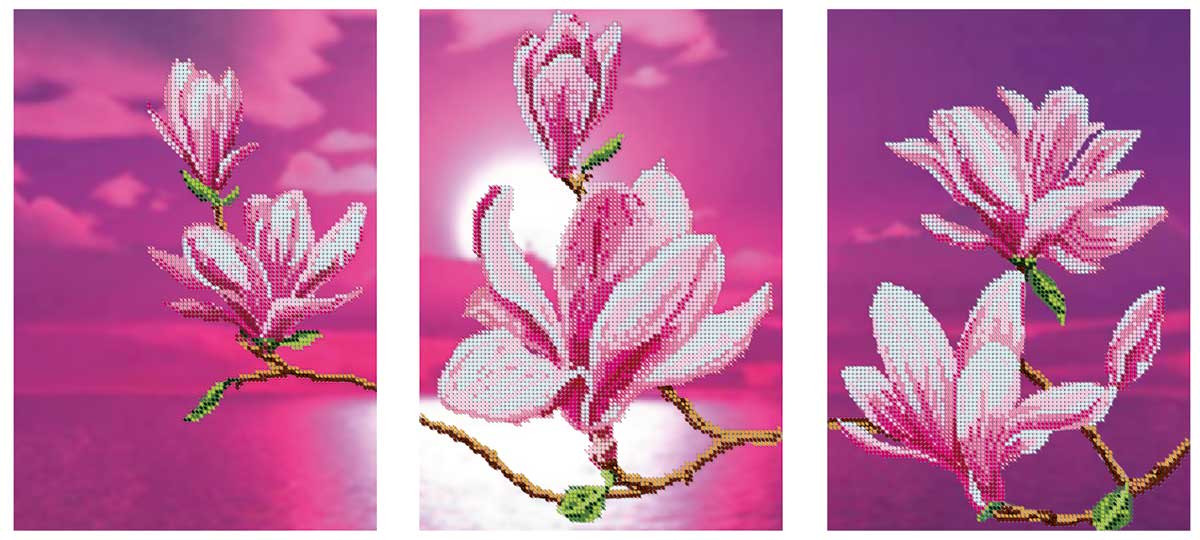 Схема для вышивки бисером Цветение магнолий