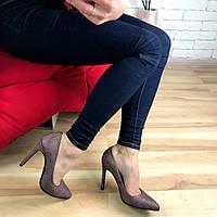 Кожаные туфли лодочки на шпильке марсала с мерцающим еффектом