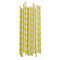 Трубочки бумажные белые со светло-желтыми полосками 12 шт