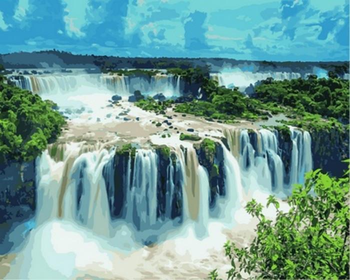 Картина по цифрам Водопады Игуасу. Бразилия (VP822) Турбо 40 х 50 см