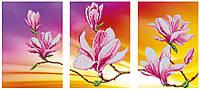 """""""Цветение магнолий"""" схема частичной вышивки бисером, триптих"""
