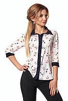 Нежная блуза в принт котики из софта с укороченными рукавами