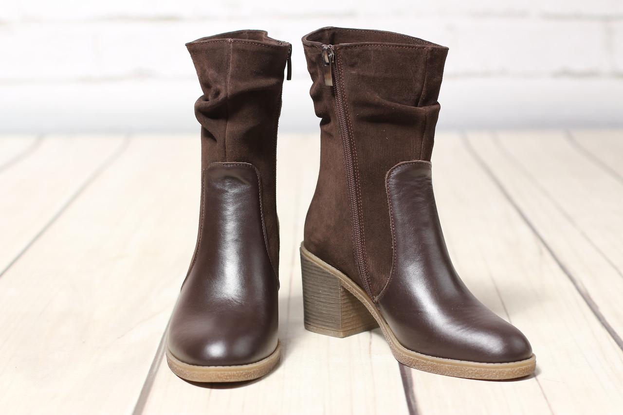 Жіночі шкіряні черевики TIFFANY на середньому каблуці