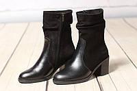 Женские кожаные замшевые ботинки TIFFANY на среднем каблуке, фото 1