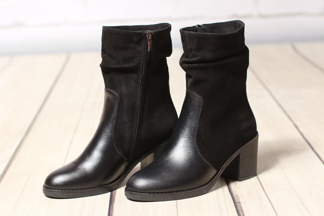 Женские кожаные замшевые ботинки TIFFANY на среднем каблуке