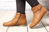 Женские кожаные ботинки TIFFANY на низком каблуке с ремешком, фото 1