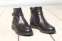 Женские кожаные замшевые ботинки полуботинки TIFFANY на низком каблуке с ремешком, фото 1
